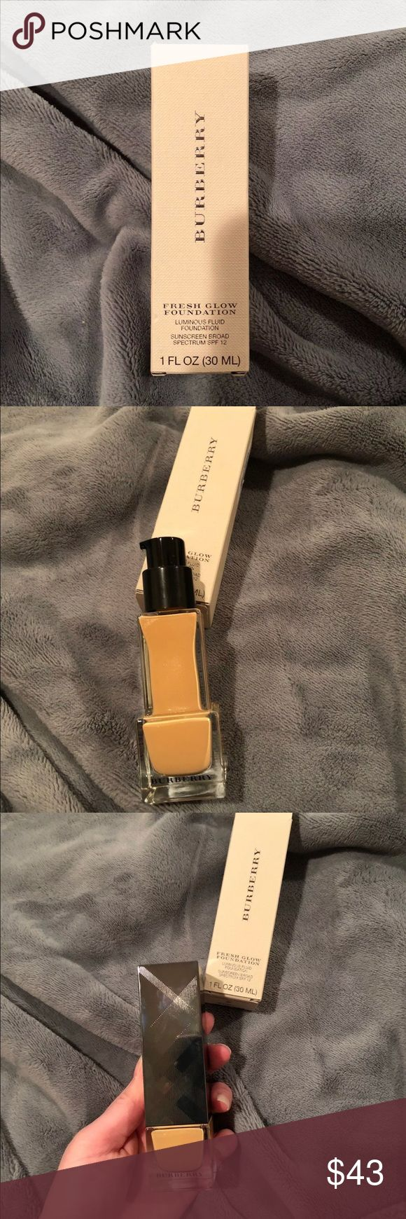 """Brand new Burberry Fresh Glow Foundation BRAND NEW NEVER USED Burberry Fresh Glow Foundation in shade """"Rosy Nude"""". Described for medium skin with rosy undertones. Originally bought for $52. Sold out on Sephora.com Burberry Makeup Foundation"""
