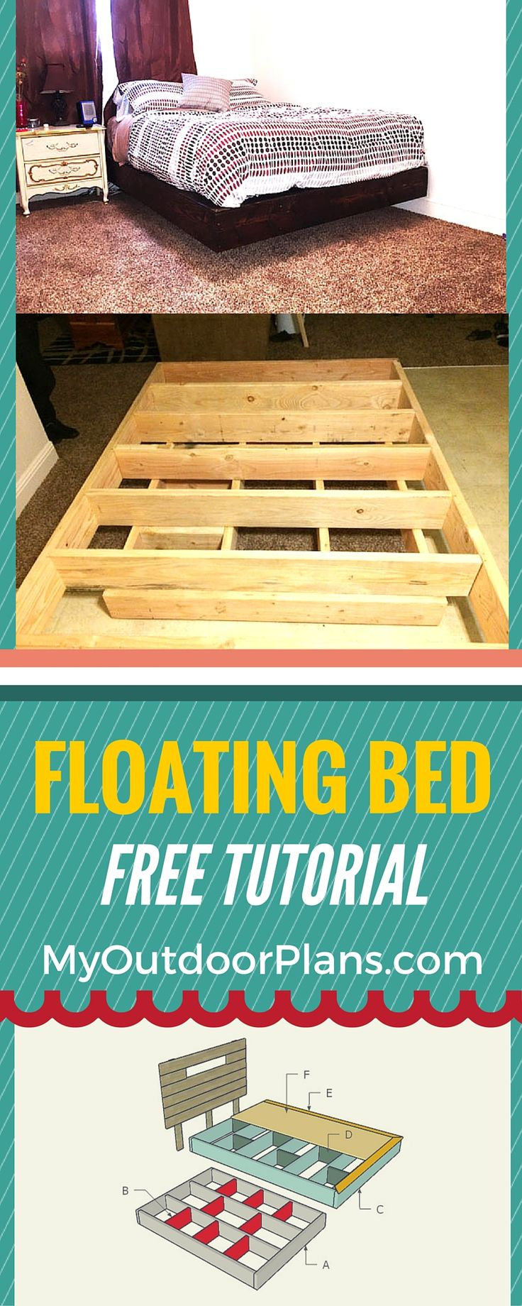 How to build a floating bed - Step by step plans for you to build a floating bed frame from common materials and using basic tools! #bedframe #diy #woodworking
