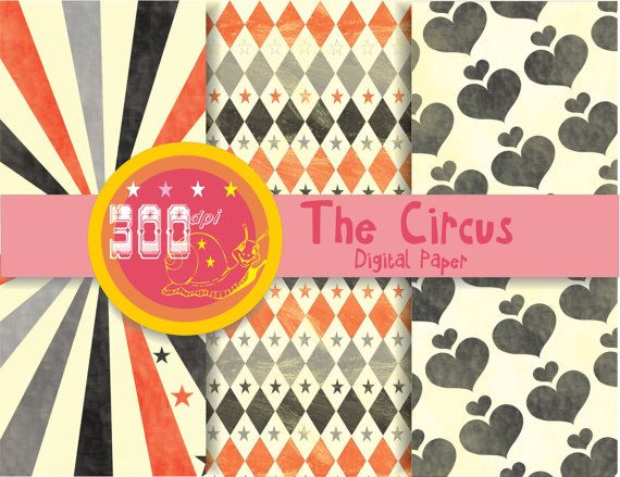Vintage circus digital paper antique patterns red by GemmedSnail, $1.20