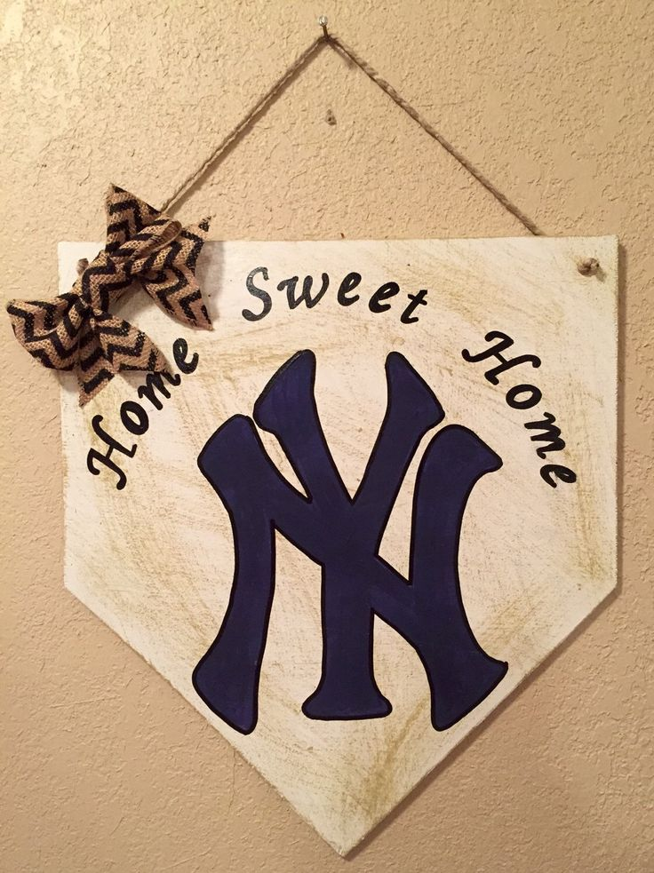 A personal favorite from my Etsy shop https://www.etsy.com/listing/270276050/new-york-yankees-home-plate-sign-new