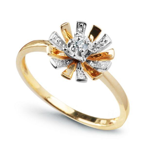 Staviori Pierścionek. 1 Diament, szlif brylantowy, masa 0,03 ct., barwa H, czystość I1. Żółte, Białe Złoto 0,585. Średnica korony ok. 10 mm. Wysokość 5 mm. Szerokość obrączki ok. 1,5 mm.   , Victorias - Nowoczesna biżuteria srebrna i magnetyczna oraz zeg