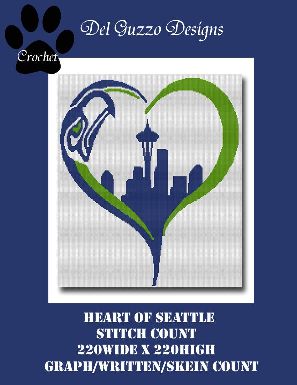 Looking for your next project? You're going to love Seattle Seahawks crochet graph pattern by designer DelGuzzoDesigns.