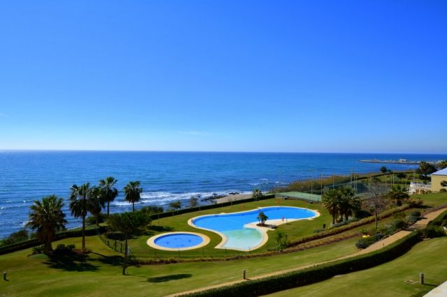 simply stunning view of sea and beach from apartment terrace