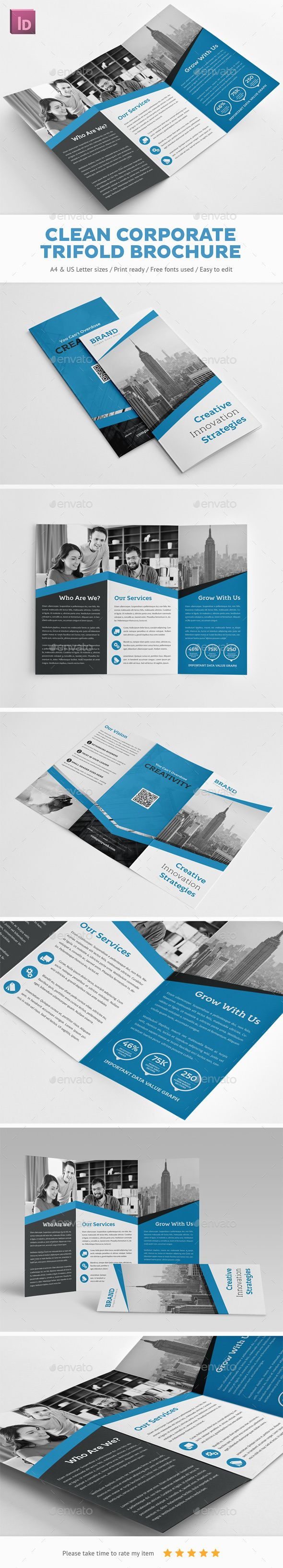 Clean Corporate Trifold Brochure Template InDesign INDD #design Download: http://graphicriver.net/item/clean-corporate-trifold-brochure/14523224?ref=ksioks