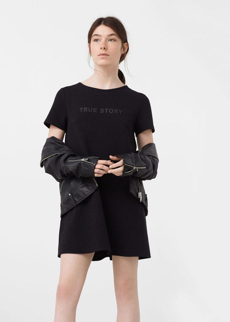 Vestido recto algodón  - Vestidos de Mujer | MANGO España