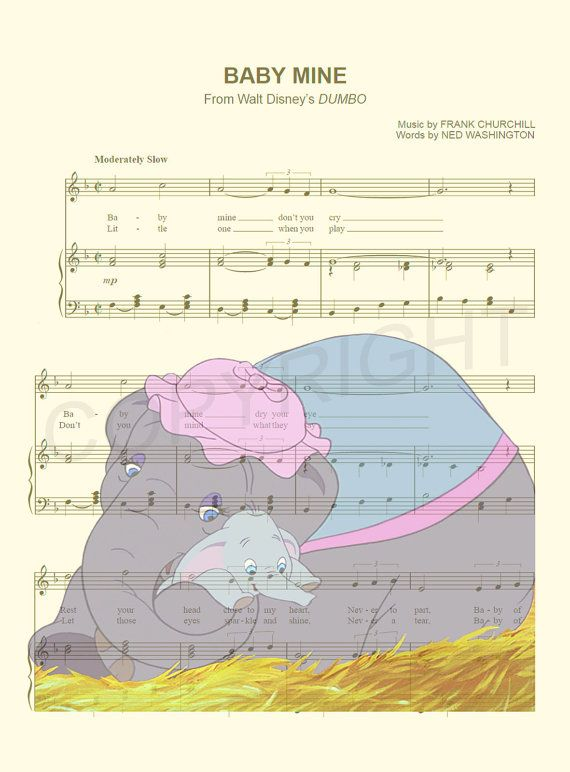 Dumbo with Mother Music Sheet Art Print by AmourPrints on Etsy