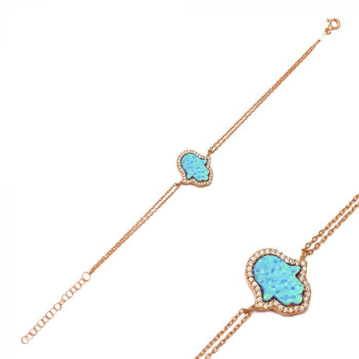 Hamsa Hand Light Blue Opal Stone 925 Silver Rose Gold Jewellery Women Bracelet
