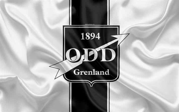 Download wallpapers Odds BK, 4k, Norwegian football club, emblem, logo, Eliteserien, Norwegian Football Championships, football, Shien, Norway, silk flag
