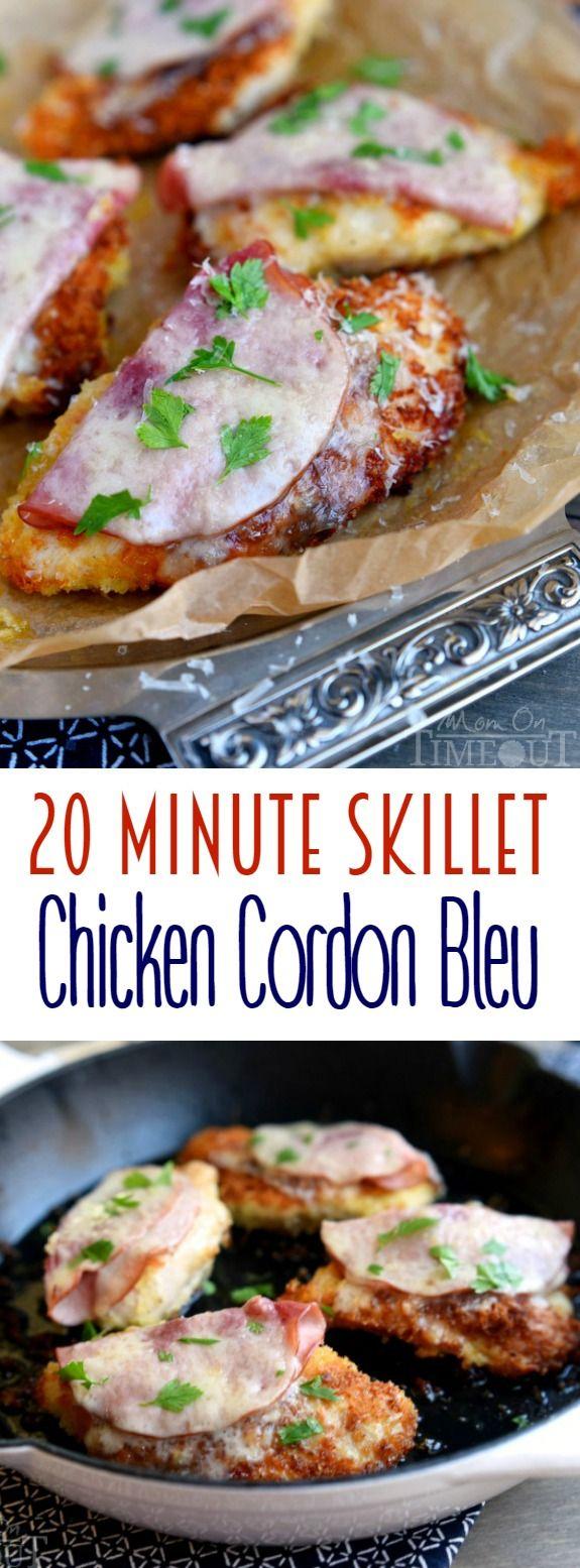 Deze 20 Minute Skillet Kip Cordon Bleu recept is de perfecte snel en eenvoudig diner!  Knapperige panko paneren, ham, Zwitserse kaas en wijn - niemand zal weten dat je niet slaaf voor uren!  | MomOnTimeout.com