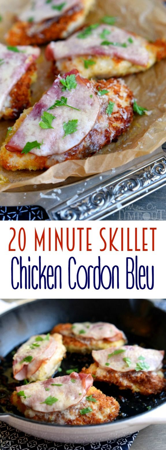 This 20 Minute Skillet Chicken Cordon Bleu recipe is the perfect quick and easy dinner! Crunchy panko breading, ham, Swiss cheese and wine - no one will know you didn't slave for hours! | MomOnTimeout.com