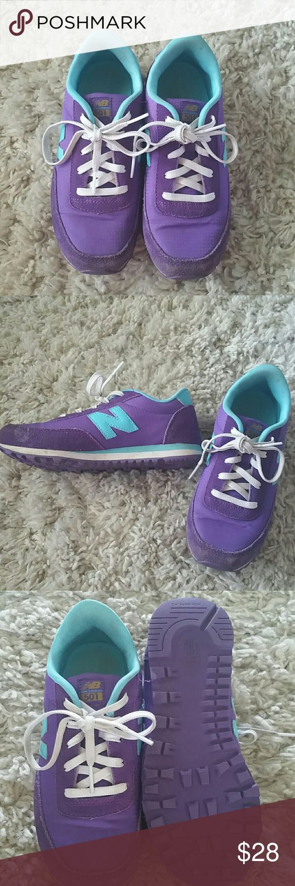 Youth New Balance '501' walking shoes My daughter wore these 3 times before outgrowing them. Excellent condition. Purple and teal colors. New Balance Shoes Sneakers
