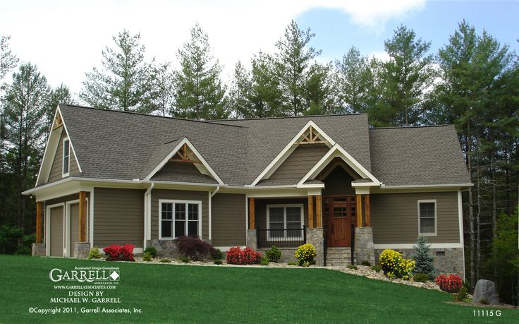 Mill spring cottage house plan 11115 g front elevation for Mountain craftsman house