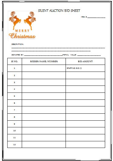 Nifty image inside free printable silent auction templates