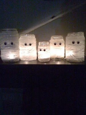 Mason Jar Mummies. Wrap Mason jar in crape paper streamers and glue on googly eyes. can also be Snowman