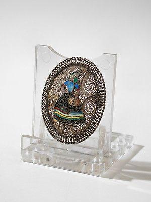 Vintage Topazio Sterling Silver Intricate Filigree Cloisonne Enamel Oval Brooch