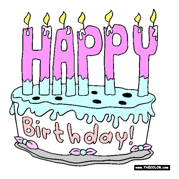 Happy Birthday Cake  Online Coloring Page Found On Polyvore - Words on cake for birthday