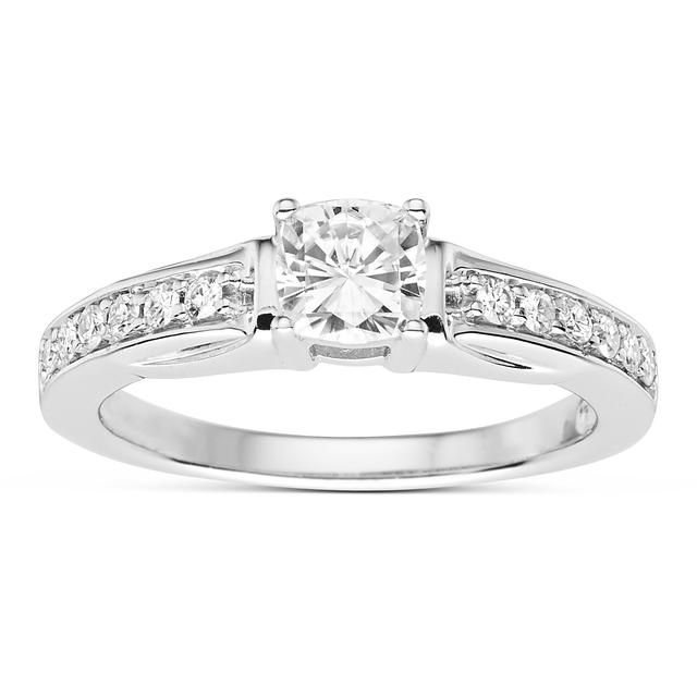 3/4 CT DEW Classic Moissanite Fashion Ring In Platinum Plated Sterling Silver