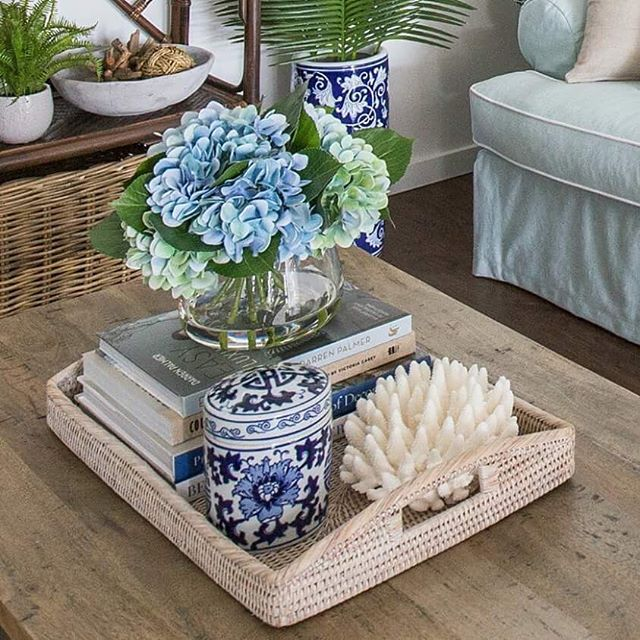 The Chic Technique: Coffee table styled with the beachy Hamptons look.