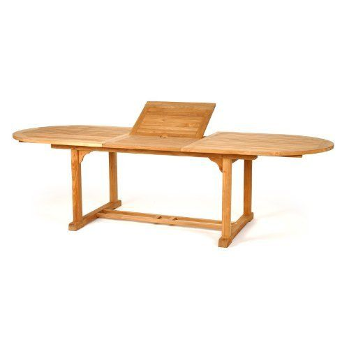 Oval Dining Table Natural W/Ext 84 Inch 120 Inch By Caluco.