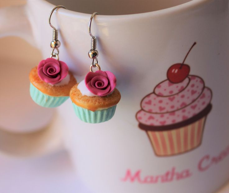 Romantic roses cupcakes with chocolate cream miniature wearable food - cupcake earrings - handmade - polymer clay by ManthaCreaMiniatures on Etsy