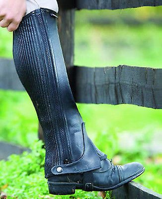 Quality pebbled leather chaps with close-fit, elasticated calf sections and zips.
