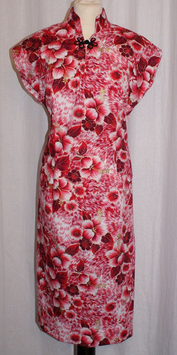 Vintage 1950s inspired Hawaiian tea timer wiggle dress vintage pink gold fabric…