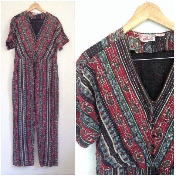 70s Indian Gauze Jumpsuit, Burgandy Metallic Playsuit, Cotton Gauze Playsuit…