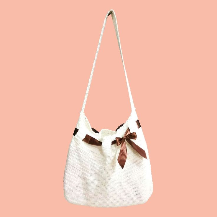 White Shoulder Bag Crochet  with Brown Metallic Ribbon  #folomefashion #folome #shoulderbag #crochet