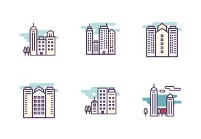 "Vector bold line icons. ""Cityscape and buildings"" set. #LineIcons #VectorIcons"