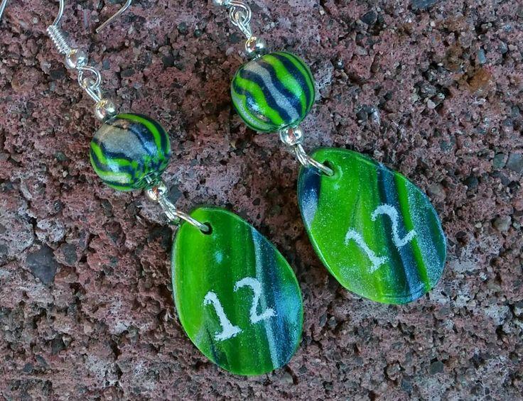 Seahawk Earrings - 12th Woman earrings - Item #E1037 - Gift Idea - Jewelry Gift - pinned by pin4etsy.com