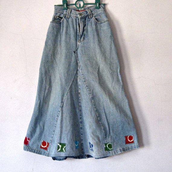 Girl's Denim Maxi Skirt Upcycled Jeans Tie by carolnesperstudio, $32.00