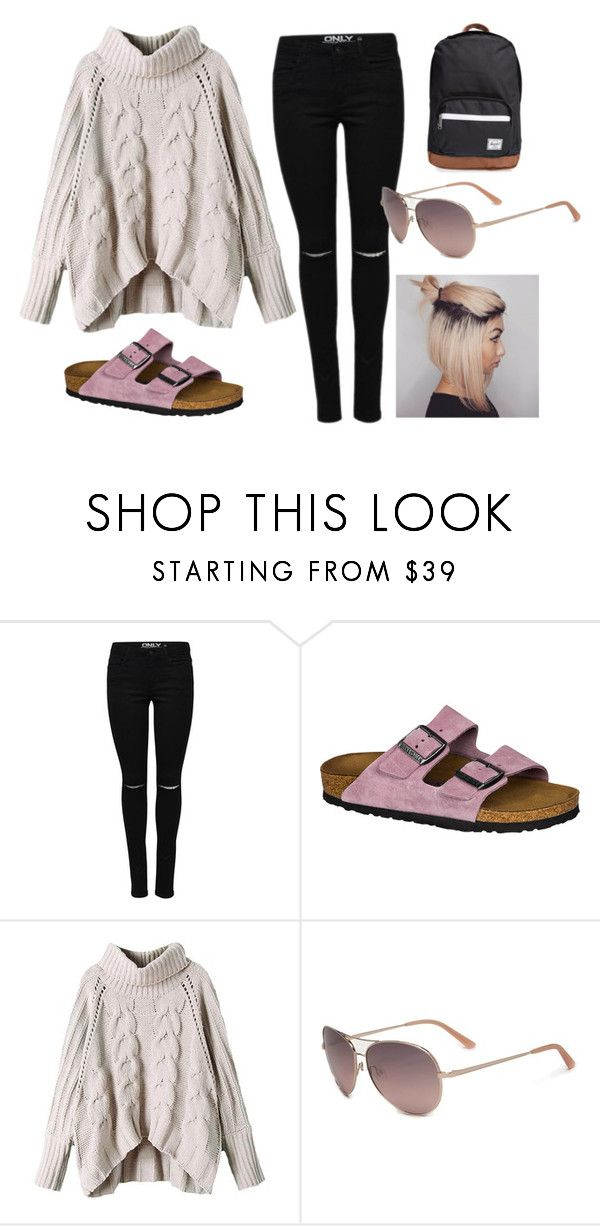 """""""Birkenstocks in fall"""" by lily-barnett-1 ❤ liked on Polyvore featuring Birkenstock, Bebe and Herschel Supply Co."""