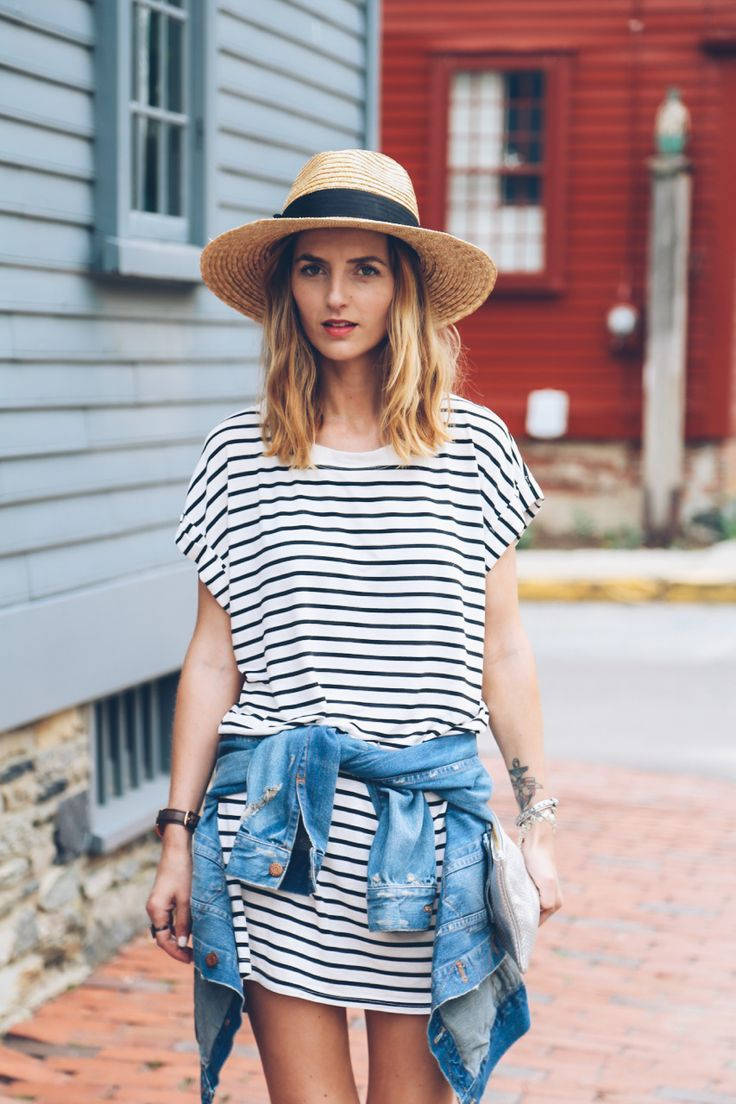 stripe t-shirt dress and straw hat, denim jacket around waist / Prosecco & Plaid