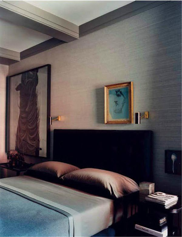 Masculine bedroom in the New York apartment of Calvin Klein fashion designer, Francisco Costa. Interior design by Mark Cunningham.