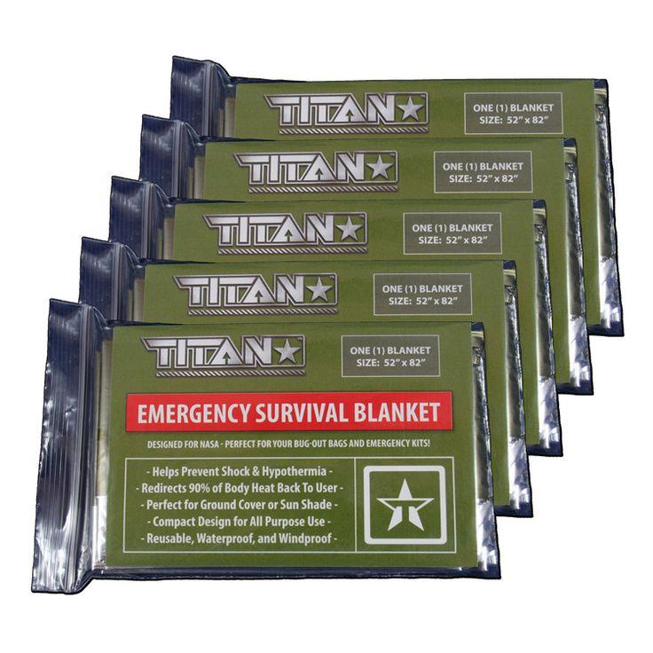 TITAN Survival Blankets (5-Pack) 52″ x 82″