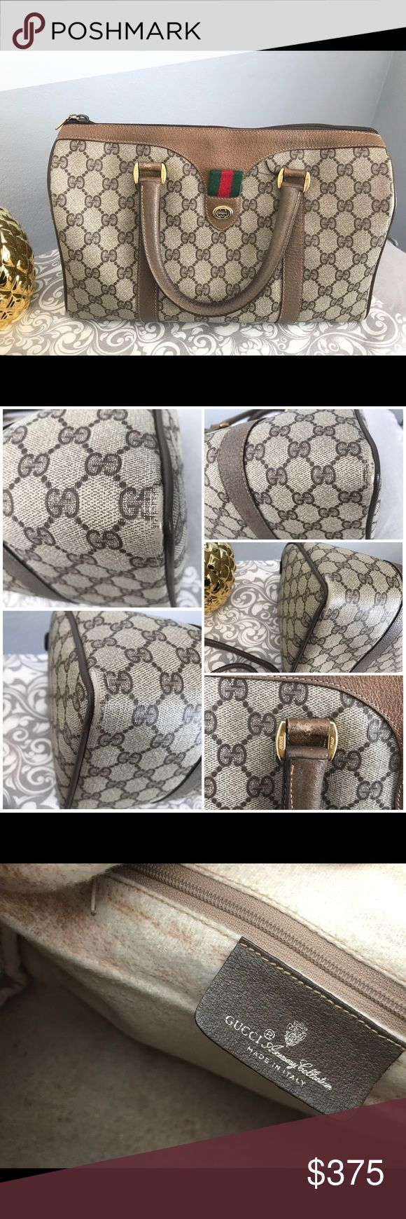 Gucci Vintage Boston Bag Rubbing on corners. Scratch below handle (see pictures). Comes with a long strap & dust bag. Still has lots of life. Any questions are answered ONLY through here. I DON'T ACCEPT CASHIERS CHECKS NOR WILL I EMAIL YOU. SERIOUS BUYERS ONLY. Gucci Bags Satchels