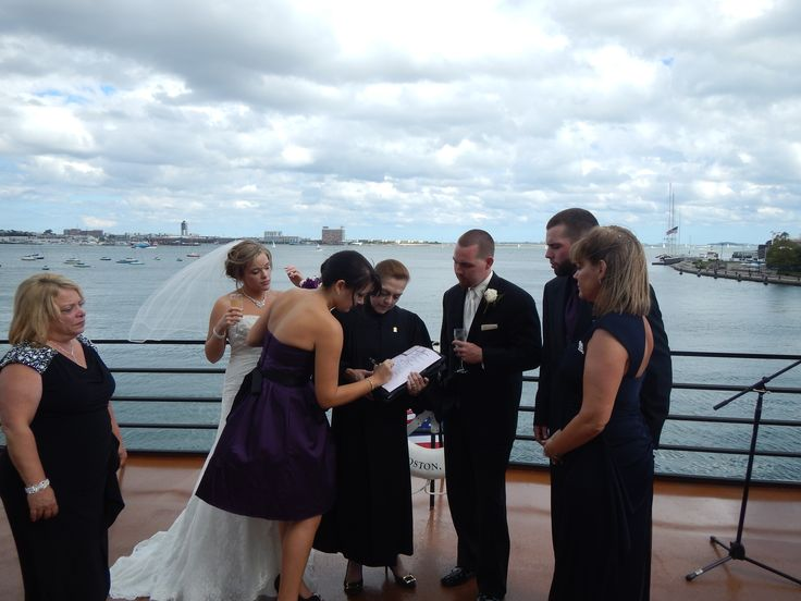 Me, with #Bride, #Alison, and #Groom, #Stephen, with their #Maid-of-Honor, Best Man, and Parents, witnessing their #marriage certificate, at their #wedding on board the Odyssey Cruise Ship in Boston, MA