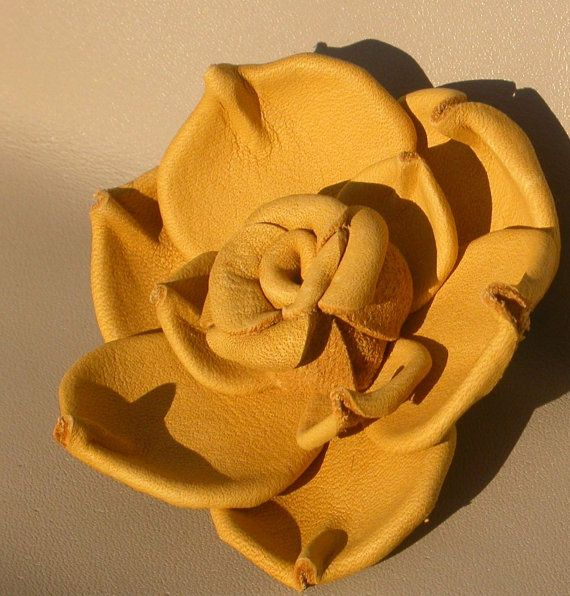 Golden Tan Leather Brooch.. Hand made rose brooch by LeatherNstuff