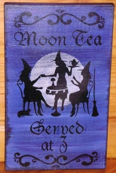 Primitive Witch Sign Moon Tea Served at 3 Coffee Witch's Kitchen Witches black cats wicca wiccan halloween props signs plaque salem by SleepyHollowPrims $24.30