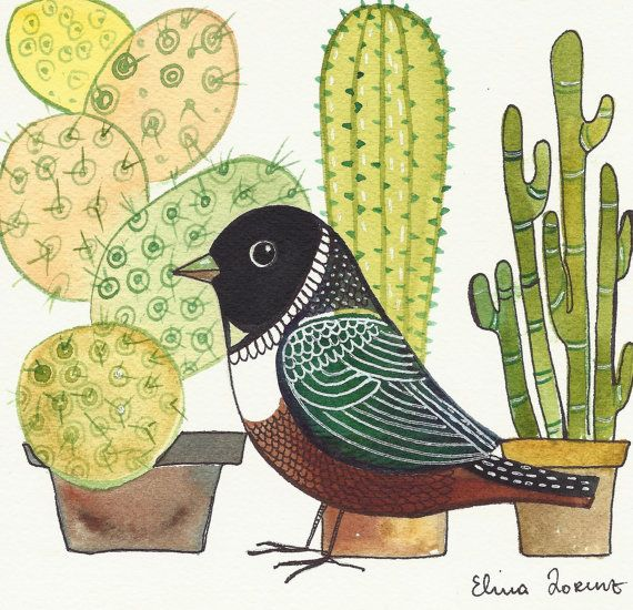 Succulents/ Bird with Cactus / plants / Print from Original Watercolor Painting / Room Decor / Wall Art / Brown Bird
