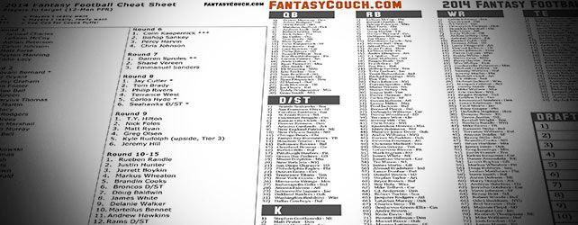 Fantasy Football Cheat Sheet 2014