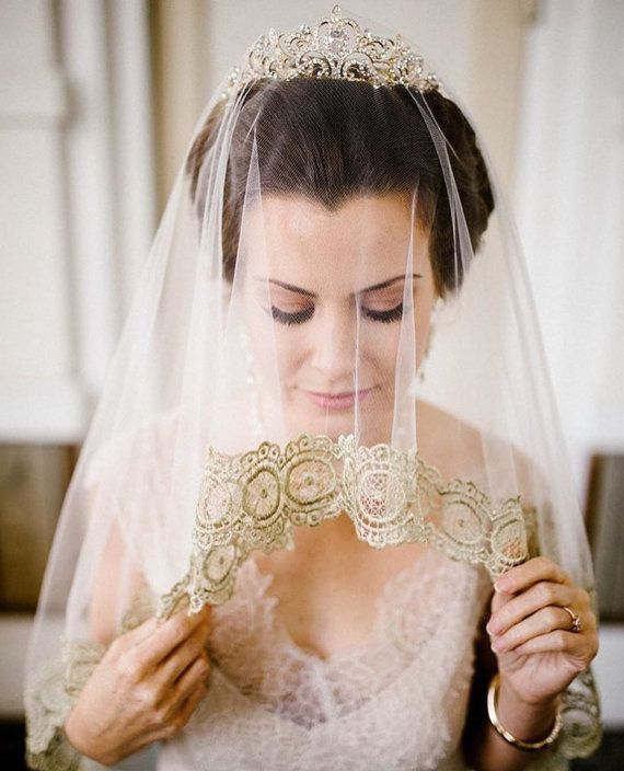 Lace Veil Wedding Veil GINA Cathedral Veil Bridal…Edit description