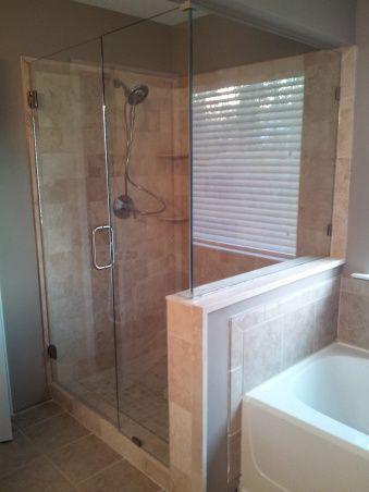17 best images about master bath on pinterest for Bathroom half wall tile