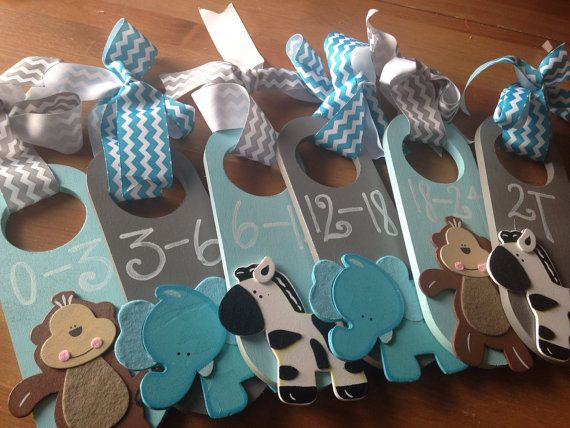 Hand Painted Closet Dividers {For Sweet Baby's Nursery} JUNGLE ANIMALS