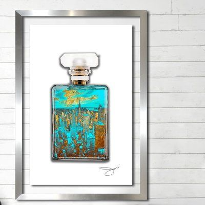 "House of Hampton 'Nyc Perfume' Framed Graphic Art Print Size: 27.5"" H x 21.5"" W"