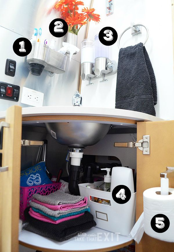 Storage solutions in the bathroom of a 30-foot Airstream Flying Cloud