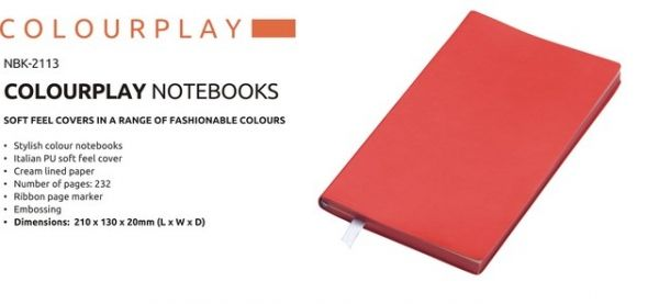 A5 Colour Play Notebook Colour Play Notebook Stylish Colour Notebook Italian PU Soft Feel Cover Cream Lined Paper Number of Pages : 232 Ribbon Page Marker Brand by Embossing  Dimensions : 210 × 130 × 20 (L x W x D) Red Colour