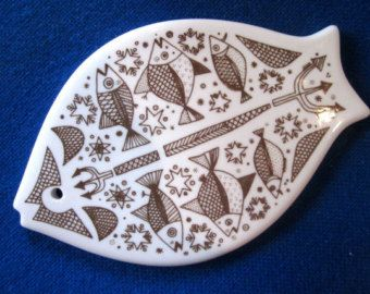 Porcelain cutting board with fish decor - Porsgrund Norway 60s mid-century