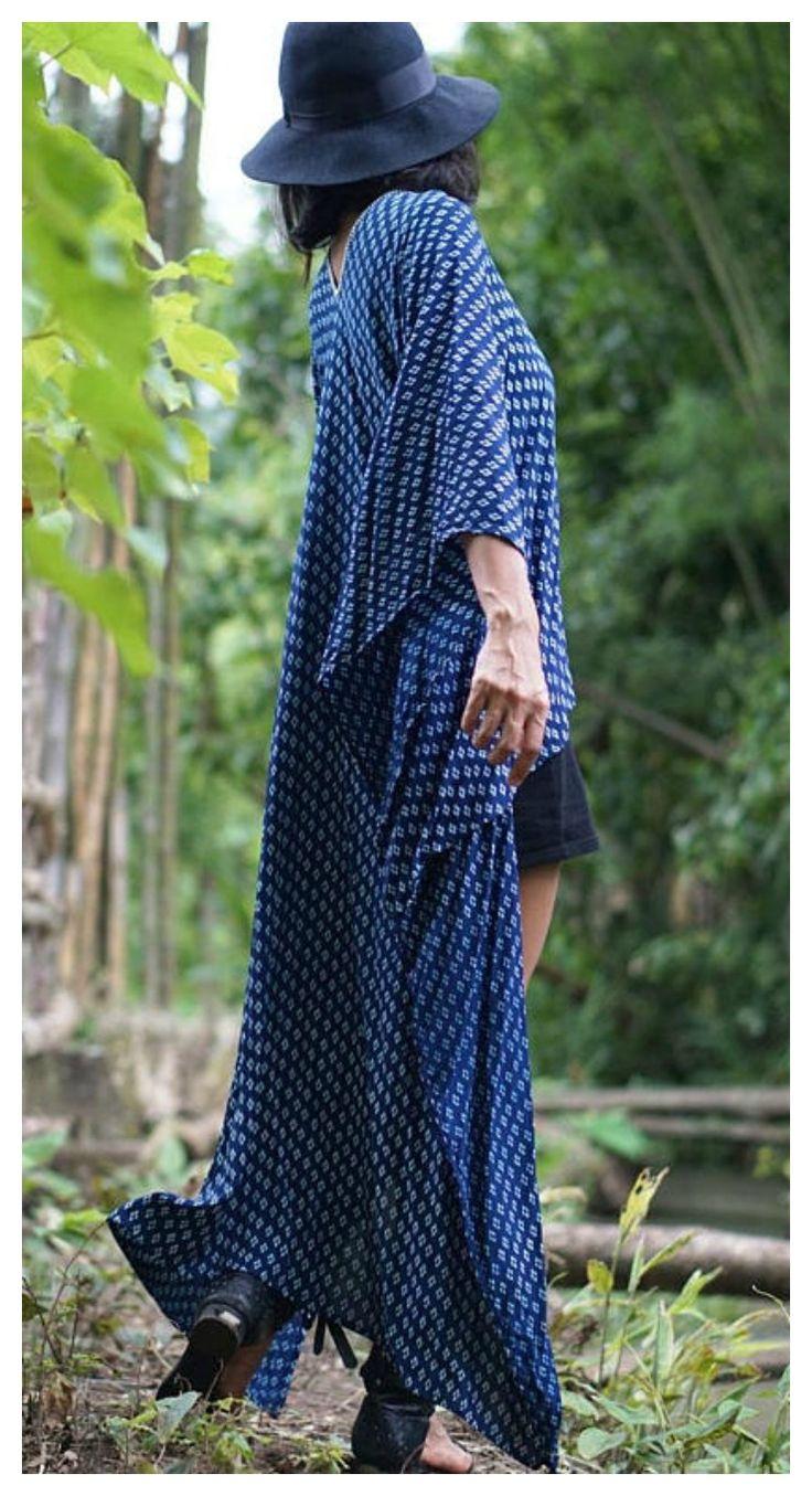 Long beach kaftan dress... Indigo Boho in Love