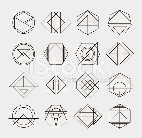 Set of retro line abstract hipster monochrome geometric badge logo royalty-free stock vector art